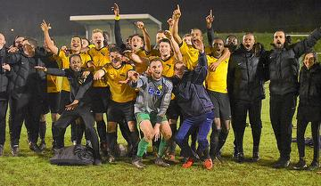 Celebrations in April 2018 for Westfield FC - courtesy and Copyright Andy Fitzsimons at Woking News & Mail