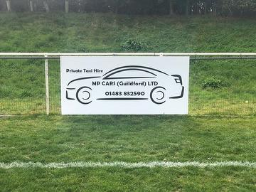 MP Cars of Guildford pitchside sign